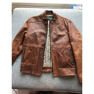 NWOT Overland brown genuine leather jacket